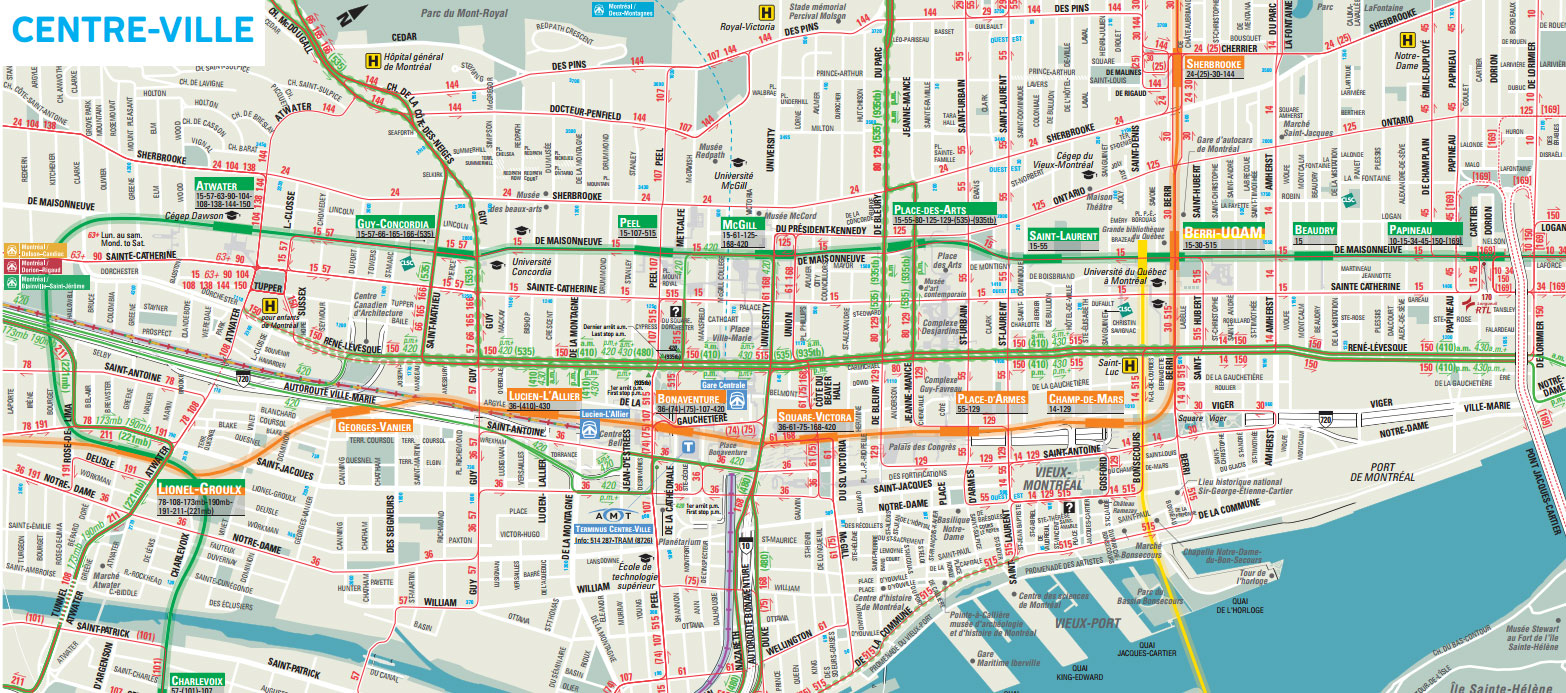 Downtown Montreal Map Montreal Travel Guide