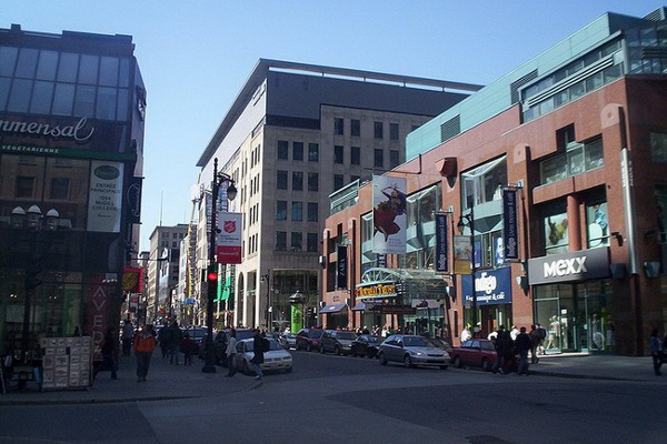 Saint Catherine Street near Place Montreal Trust