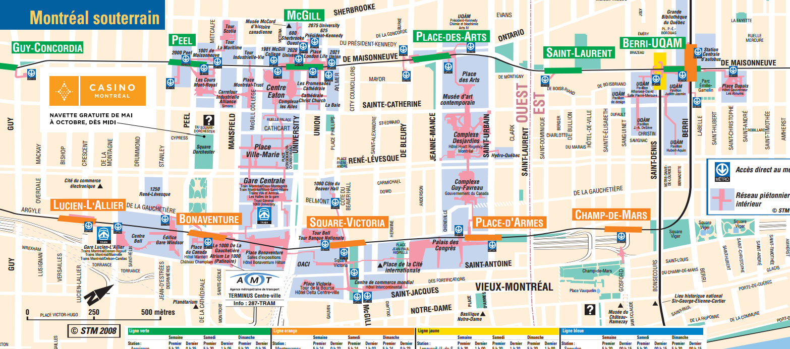 Montreal underground City Map Montreal Travel Guide